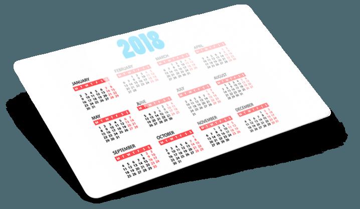 Calendario tascabile personalizzato 2018