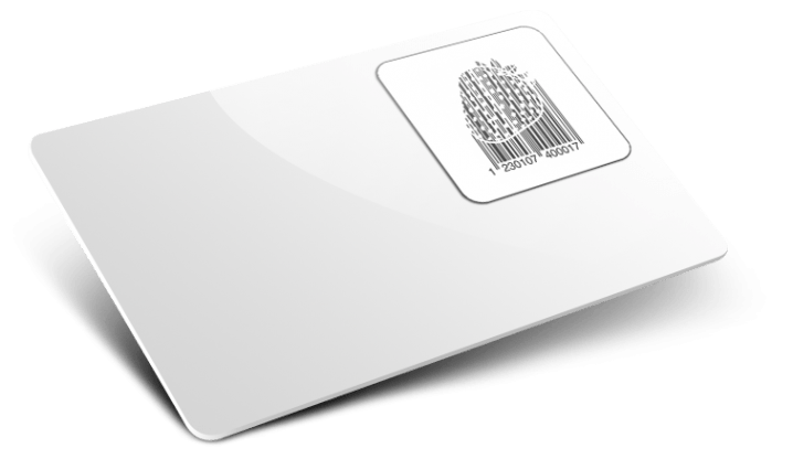Carte con codice a barre con forma personalizzata