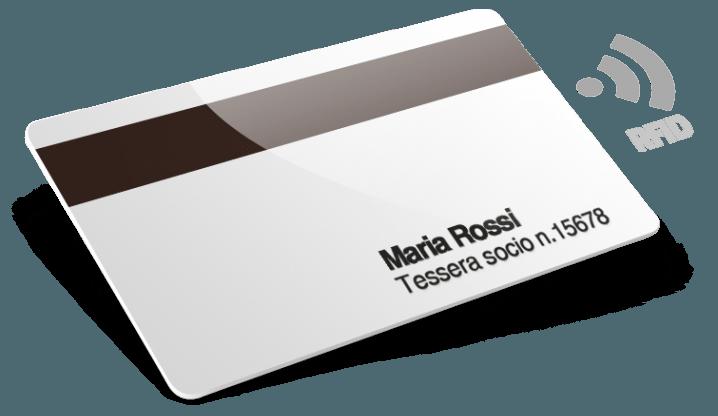 Tessera in plastica con RFID, Banda Magnetica, numeri, nome e cognome